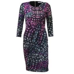 HUNTER BELL Addison Neoprene Print Bodycon Dress M